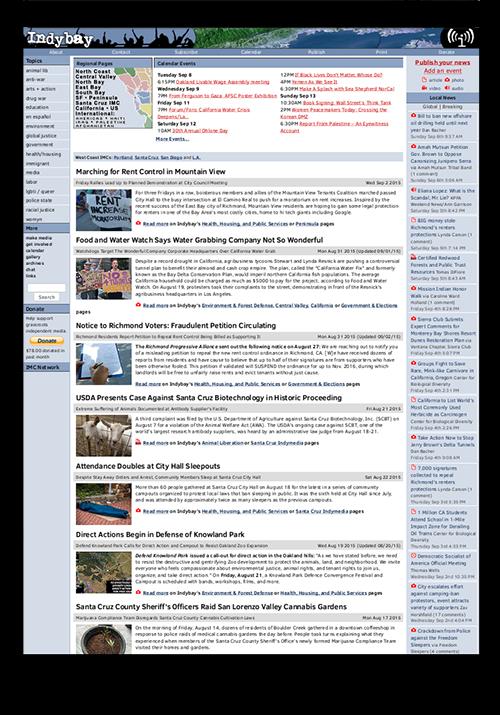 Indybay screenshot