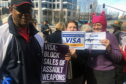 Protests Against Gun Violence at VISA Headquarters in Foster City