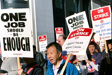 Union Members On Strike at Marriott Hotels in Eight U.S. Cities