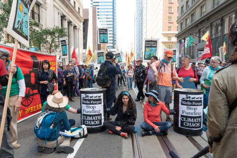 Protesters Seize Block in Front of Wells Fargo Global Headquarters