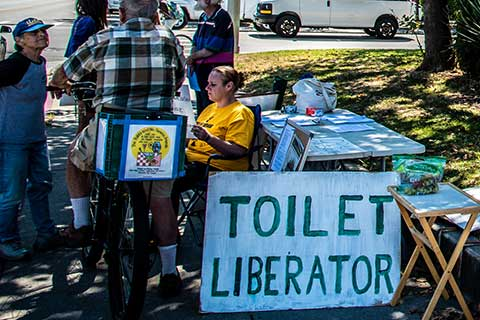 Demonstrators Keep the Restrooms Open at Louden Nelson Center