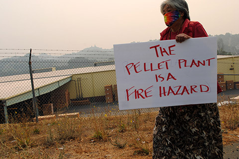 Protest at Wood Pellet Plant near Ukiah